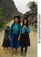 Grandmother , mother and daughter - White Hmong women from...