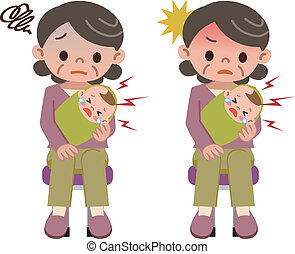 Grandmother of depression are holdi - Vector illustration.