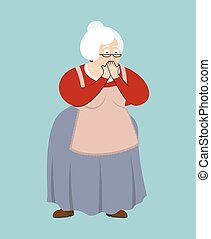 Grandmother OMG scared. Grandma Oh my God emoji. Old lady Vector illustration
