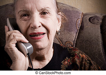 grandmother on the phone - special toned photo f/x,...
