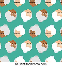 Grandmother portrait pattern. Old woman face seamless texture. crone jrnament. gammer with glasses background