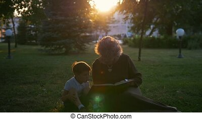 Grandmother reading a book to grandchild sitting on the...