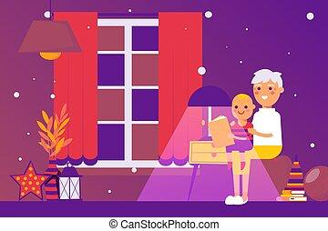 Grandmother reading bedtime story to grandson, vector illustration