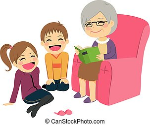 Grandmother Reading Story - Illustration of kids listening...