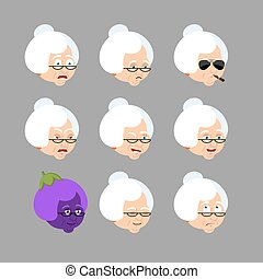 Grandmother set emoji avatar. Sad and angry face. Guilty and sleeping. Grandma sleeping emotion face. Old lady Eggplant. Vector illustration