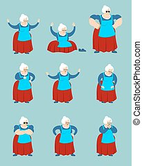 Grandmother set poses and motion. Grandma happy and yoga. Old lady sleeping and angry. guilty and sad. Vector illustration