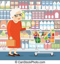 Grandmother shopping illustration