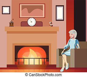 Grandmother sits in a chair near the fireplace