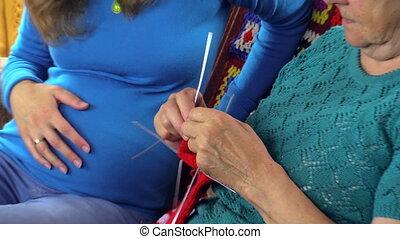 Grandmother teach knit