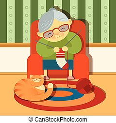 Grandmother - Vector image of a knitting grandmother with a...