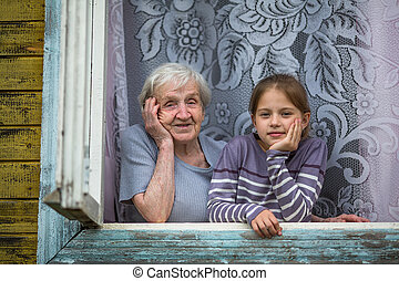 Grandmother with a granddaughter