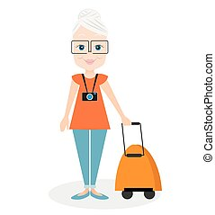 Grandmother with a packsack travel. Travelling with the knapsack. Vector illustration eps 10 isolated on white background. Flat cartoon style.