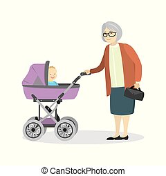 Grandmother with a pram and baby
