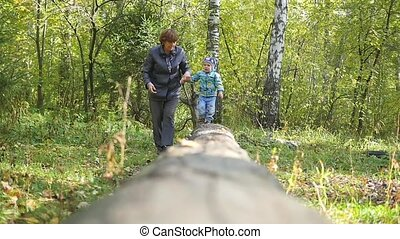 grandmother with child walking in the Park