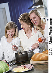 Grandmother with family cooking in kitchen, smiling and...