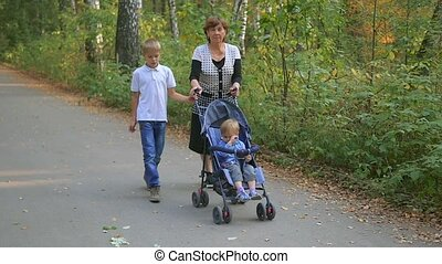 grandmother with grandchildren walking in the Park