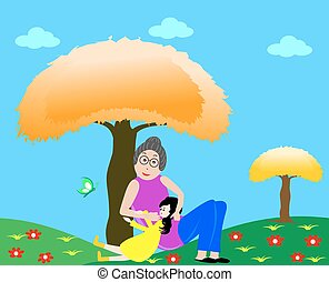 Grandmother with granddaughter - Grandmother with her...