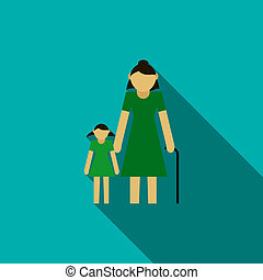 Grandmother with granddaughter icon, flat style