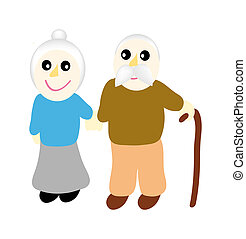 grandmother with grandfather - illustration of grandmother...