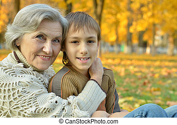 Grandmother with grandson in park