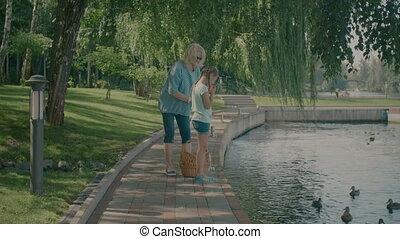 Grandmother with her grandchild feeding ducks at pond