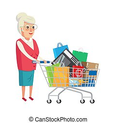 Grandmother with Shopping Cart Vector Illustration