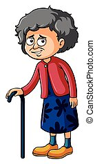Grandmother with walking stick illustration