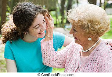 Grandmothers Love - Beautiful teen girl and her loving...
