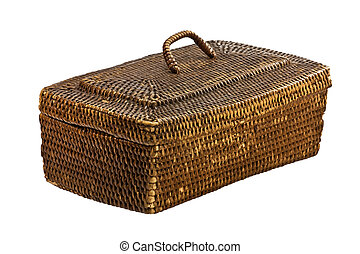 Grandmother's wicker basket for knitting and sewing