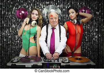 grandpa DJ and two beauitful gogo dancers - amazing grandpa...