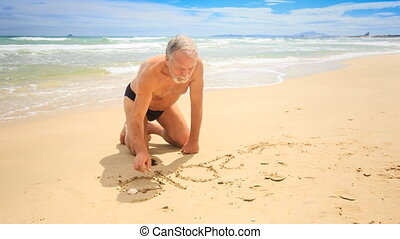 Grandpa Draws on Wet Sand Little Blond Girl Comes on Beach