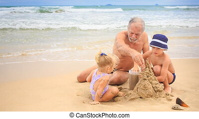 Grandpa Little Blond Girl Boy Build Sand Castle on Beach