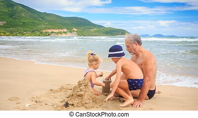 Grandpa Little Blond Girl Boy Start Build Sand Castle on Beach