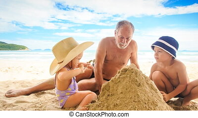 Grandpa Little Girl Boy Sit Spread Sand Heap on Beach by Surf
