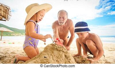 Grandpa Little Girl Boy Start Making Sand Heap on Beach by Surf