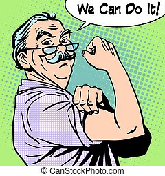 Grandpa old man gesture strength we can do it - Grandpa the ...