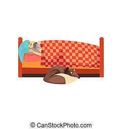 Grandpa sleeping in his bed, the dog lying beside him, lonely senior man and his animal pet vector Illustration on a white background
