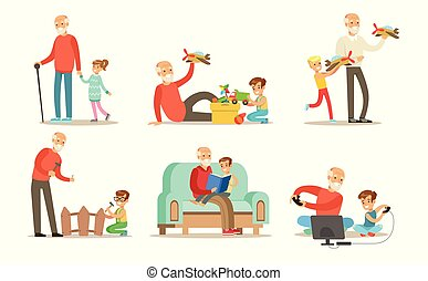 Grandpa spending time with grandchild set, grandfathers playing, walking, reading books and having fun with their grandchildren vector Illustrations isolated on a white background.