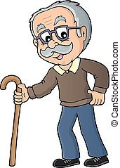 Grandpa with walking stick image 1 - eps10 vector ...