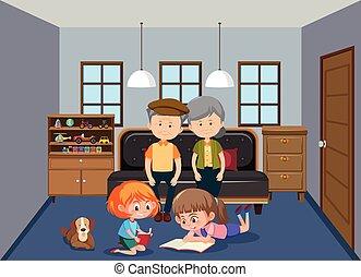 Grandparent and grandchildren in living room illustration