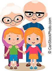 Grandparent and their grandchildren - Vector cartoon...