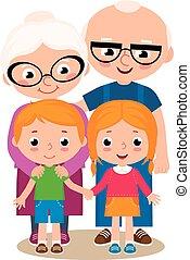Grandparent and their grandchildren - Vector cartoon ...