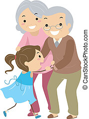Grandparent Couples with Grandchild Stickman - Illustration...