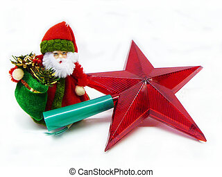 Grandparent Frost with red star on white background