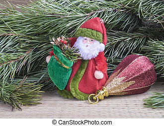Grandparent Frost with toy for fir tree