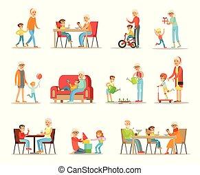 Grandparent spending time with grandchildren set, grandma and grandpa playing, walking, reading books, having dinner with grandchildren vector Illustrations isolated on a white background.