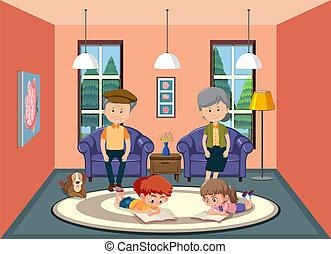 Grandparent taking care of grandchildren illustration