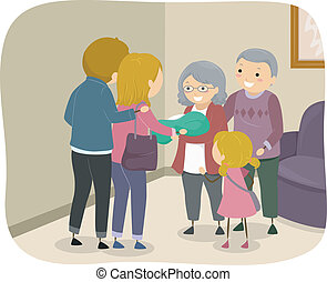 Grandparent Visit - Illustration of a Family Visiting an...