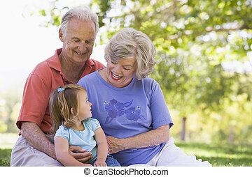 grandparents, внучка, парк