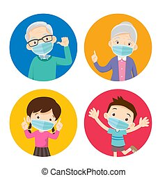grandparents and children wearing a surgical mask to prevent...